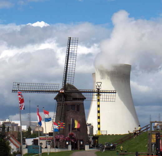 This is a windmill and a nuclear power plant cooling tower.